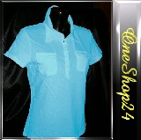 Poloshirt - T-Shirt - Stretch - 95% Cotton - türkis Gr. XL