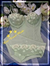 Corsagen-Set/Panty-transparent - bestickte Cups - mint